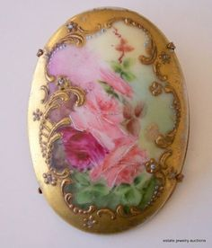 .Vtg ANTIQUE Brooch Pin Victorian BIG Hand painted Flower…