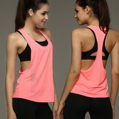 Sexy Female Loose Sports Shirts Solid Fitness Vest Gym Women Yoga Clothes…