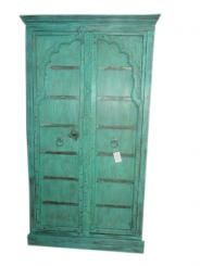 India Armoire Teal Green Teak Rustic Cabinet