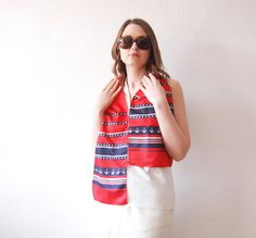 80s VINTAGE mod red blue navy scarf w'th anchor print ornament - Retro summer holiday Sailing pin up headband Salor Beach Unisex neckerchief