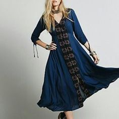 Free People Fit And Flare Midi Dress 6