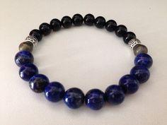 Men's bracelet in lovely Lapis Lazuli, Pyrite and black onyx