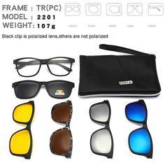 a2fdef393ce Square Retro Clip On Sunglasses Men Polarized Women Magnetic Night Vision  Optical Frame Set 5+