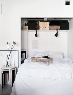 This bed has sneaked into the closet and looks so cozy.