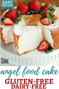 An easy recipe for a gluten-free angel food cake.This classic gluten-free dessert is sweet light and fluffy. Angel food cake is also a naturally dairy-free and low-fat dessert. Gluten Free Angel Food Cake, Gluten Free Deserts, Gluten Free Sweets, Gluten Free Cakes, Foods With Gluten, Dairy Free Recipes, Eating Gluten Free, Gluten Free Dairy Free Desserts, Dairy Free Treats