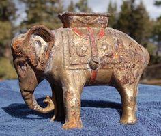 SCARCE original antique Circus Elephant cast iron Coin Bank