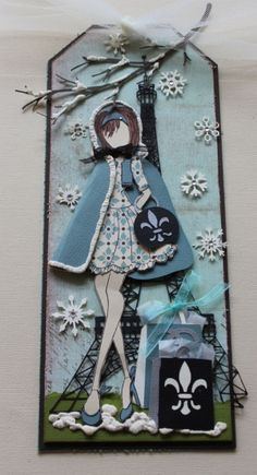 A card using paper artsy paint, Jofy stamps, Julie Nutting doll ...