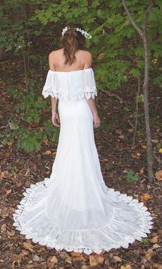 """Bohemian Off The Shoulder Dress Chiffon 1970s 1960s Vintage Inspired - """"Phiffer"""" by Daughters Of Simone"""