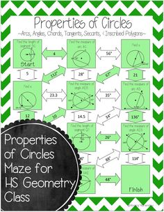 This is a maze composed of 11 circles that students must use the properties of circles to find missing angles and lengths. G.12A Apply theorems about circles, including relationships among angles, radii, chords, tangents, and secants, to solve non-contextual problems