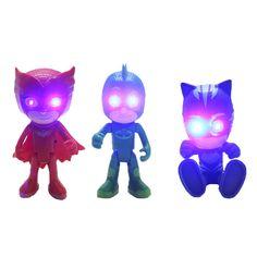 3 Pcs/Lot Pj Cartoon Mask Characters Catboy Owlette Gekko Cloak Action Figure Toys can glow and sound Plastic Dolls