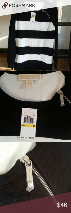 NWT Michael Kors sweater New with a tag. Black and white stripes. Soft and stretchy. It goes with anything. Size M MICHAEL Michael Kors Sweaters Crew & Scoop Necks