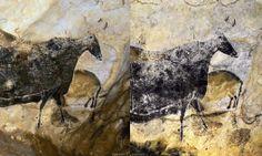 à gauche : lascaux II, à droite lascaux I - mais l'éclairage et l'angle de vue sont diférents