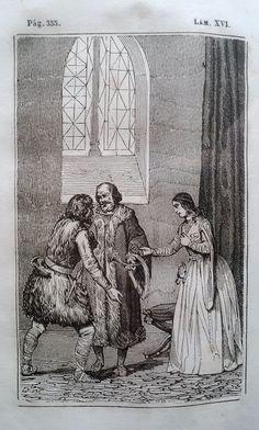 El Señor de Bembibre. Por Enrique Gil y Carrasco - (1844) Lámina XVI ... el montañés que nunca habia hecho ausencia tan larga de su casa, anhelaba extraordinariamente volver a ver la cara de su muger y los enredos de sus hijos; por lo cual, al cabo de una semana se despidió de su noble huésped y de su interesante hija, para volver a sus nativas montañas. ...