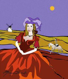 """dulcinea-azul-con-molinoTEX, por Mireya Duart.  Colección """"Dulcinea"""". Ilustración de la serie """"La ruta de Don Quijote""""    Diseñada para la estampación de complementos textiles para el hoga.  Cojines, toallas, alfombras y cortinas de baños, paños de cocina, individuales de mesa, delantales …"""