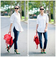 Veronica  P - Shoes, 3.1 Phillip Lim Bag, Maurices Jeans, Anne Fontaine Shirt - Complementary color accessories