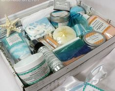 Handmade bath and body wedding accessories and by YWCHandmade Spa Basket, Birthday Presents For Her, Gift Baskets For Women, Bath Gel, Pedicure Set, Rose Clay, Spa Gifts, Gift Hampers, Gifts For New Moms