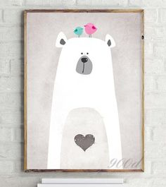 Cartoon Cute Polar Bear Canvas Art Print Painting Poster Wall Picture for Home Decoration Wall Decor Bianca Treupel Canvas Wall Decor, Canvas Art Prints, Wall Art Decor, Canvas Frame, Framing Canvas, Illustration Mignonne, Cute Illustration, Winter Thema, Poster Wall