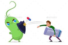 Buy Antibiotic Resistance by Bilage on GraphicRiver. Bacteria and its antimicrobial resistance caricature. All in a different layer. Graphic Design Typography, Graphic Design Art, Web Design, Character Inspiration, Character Art, Antimicrobial Resistance, Science Biology, Vector Clipart, Microbiology