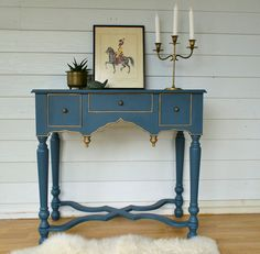 Charmant Vintage Inspired Peacock Blue Hall Table With Gold Gilding.  Www.rawrevivals.com.