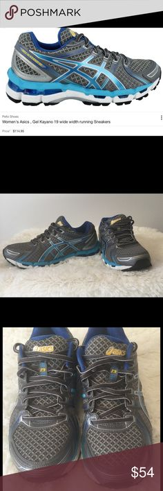 Women's Asics 7.5 running sneakers gel kayano exc. These shoes are in EXCELLENT condition worn a couple of times.  They retail for $114.00. They basically look new.  Comes from a smoke free home.  Buy with confidence I am a top rated seller, mentor, and fast shipper.  Don't forget to bundle and save.  Thank you. Asics Shoes Athletic Shoes