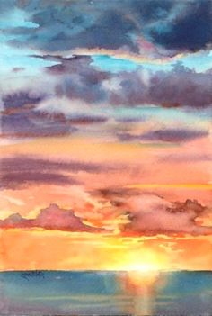 35 Easy Watercolor Landscape Painting Ideas To Try – Cartoon District – art au crayon Watercolor Sunset, Watercolor Landscape Paintings, Easy Watercolor, Gouache Painting, Beginner Art, Beginner Painting, Brooklyn, Sky Landscape, Ocean Sunset
