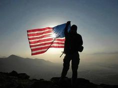 US Soldier with American Flag