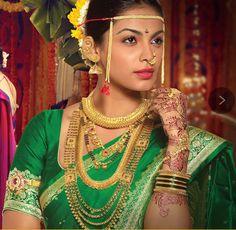 Traditional Maharashtrian jewellery collection ~ Bridal look Marathi Bride, Marathi Wedding, Saree Wedding, Marathi Nath, Bridal Sarees, Wedding Bride, Wedding Stuff, Beautiful Indian Actress, Beautiful Bride