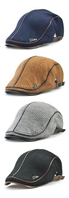 Men Knitting Casual Buckle Beret Cap #outdoors #outfits