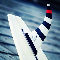 stripy surfboard fin