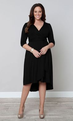 Winona Hi-Lo Wrap Dress, Black (Womens Plus Size) From The Plus Size Fashion Community At www.VintageAndCurvy.com