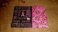 QUILTED CANCER AWARENESS RIBBON MUG RUG MINI QUILT DRINK COASTER HOME DECOR #ME