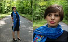 Maria in a blue ethnic scarf