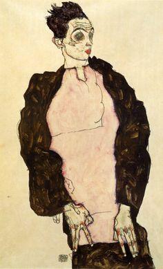 ABOVE: Egon Schiele, Self-Portrait in Lilac Shirt (1914), gouache, watercolour, and pencil, 48.4 x 32.2 cm.