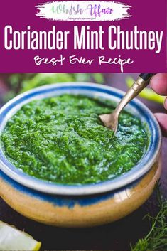 This Tangy Mint Coriander Chutney Recipe is bursting with flavours in each bite. Serve it with an appetizer or as a side with any Indian meal because it is a perfect accompaniment to perk up the meal. Here is my mother's famous recipe to make this corian Coriander Chutney Recipe, Green Chutney Recipe, Tamarind Chutney, Cilantro Chutney, Tomato Chutney, Mint Recipes, Sauce Recipes, Cooking Recipes, Vegetarian Recipes