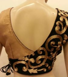 Buy stunning black velvet and golden blouse. readymade-blouse online