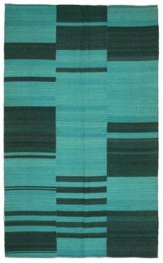 Teal Stripe Rug Wool Kilim Handwoven Turkish 11'x6.5'