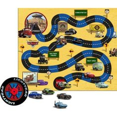 """Cars Party Game by HALLMARK MARKETING CORPORATION. $6.56. Kids' Party Supplies. Disney Cars. Dash for Radiator Springs with Disney Cars. Each Cars party game includes game sheet, 8 cars and 1 spinner. Game sheet measures 31"""" x 36""""."""