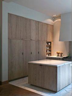 minimalist limed oak kitchen cabinets by AIDArchitecten
