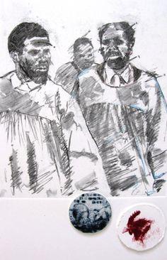 Ama kholwa II  charcoal mono print on Fabriano 47X35cm 2012