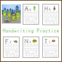 Handwriting practice ninja turtle themed handwriting