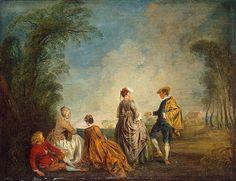 An Embarrasing Proposal , 1715 - 1716  Watteau, Antoine