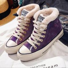 Shop Women Suede Furry Converse Lace Up High/Low Top Winter Sneakers at Chicmira. It is Casual Style and very warm in winter. The Colors are Black,Purple,Pink,Gray,Green. Full size available. Low Heel Shoes, High Heel Pumps, Lace Up Shoes, Cute Shoes, Women's Shoes, Shoe Boots, Snow Sneakers, Winter Sneakers, Winter Shoes