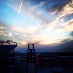 Winter sunset above Gillette Stadium.