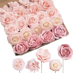 Ling's moment Artificial Wedding Flowers Flowers Combo Box Set for DIY Wedding Bouquet Centerpieces Flower Arrangements Decorations (Blush Foam Roses Peonies Avalanche Roses Gardenias)