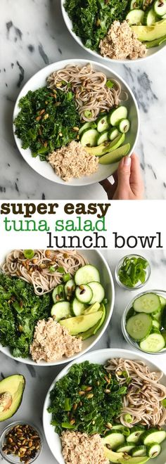 Super Easy Tuna Salad Lunch Bowl. Made with simple and healthy ingredients, this is the easiest meal prep lunch that will keep you full and satisfied! Healthy fats, carbs and protein in one powerhouse bowl.