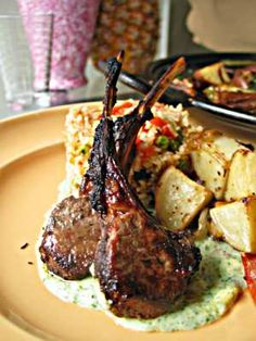 Lamb Chops with Mint Yogurt Sauce. only pinning this for the yogurt mint sauce i cannot eat lamb!