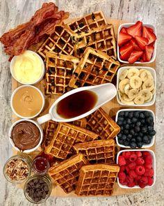 Brunch Recipes, Breakfast Recipes, Drink Recipes, Breakfast Ideas, Seafood Recipes, Charcuterie Recipes, Charcuterie Board, Breakfast Platter, Breakfast Waffles