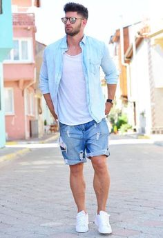 9 Proud Tips AND Tricks: Urban Fashion Chic Beanie urban fashion posts.Urban Fashion Ideas For Women urban fashion casual Urban Fashion Posts. Blue Shorts Outfit, Summer Outfits Men, Short Outfits, Casual Outfits, Men Summer, Casual Summer, Beach Outfit For Men, Casual Fall, Men Casual