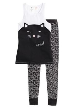 Pyjamas: Pyjamas in soft cotton-blend jersey. Vest top with a print motif. Leggings with an elasticated waist and ribbed hems.