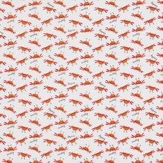 Beach by David Walker Fabric Crabby Cute Small Orange Crabs Crab on White